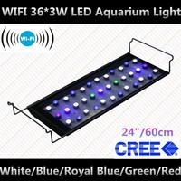 "WIFI 24"" 36*3W ornamental fish aquarium decorations led aquarium+CREE Leds+90 degree lens+10000K,470nm,453nm,520nm,630nm"