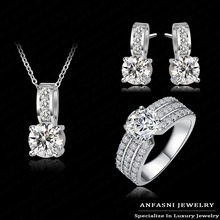 2014 New Arrival Women Wedding Jewelry Set Platinum Plated Swiss Crubic Zircon Necklace/Earring/Ring Set Choose Size For Ring(China (Mainland))