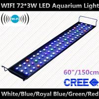 """WIFI 60"""" 72*3W aquario aquarium led betta fish+CREE Leds+90 degree lens+5 years warranty+10000K,470nm,453nm,520nm,630nm"""