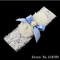 Wedding Party  White Lace Garter With  Blue Flower Ribbon Bridal Garter  2014  New Arrival/Bridal Garter