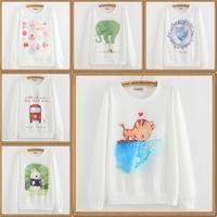 2014 autumn New harajuku print women sweatshirt hoodies sportswear cotton hoodies and pullovers winter white women hoody