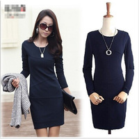 2014 new long-sleeved Korean Women Slim package hip long-sleeved dress stitching temperament career dress Free shipping