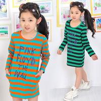 Free shipping ! Brand Design Hot sale Fashion Casual Elegant Sweet Long section  Alphabet  Stripes  Bottoming Shirt Girls 2014