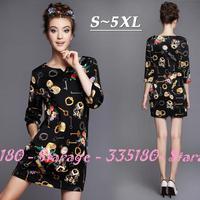 S-5XL Brand Vintage Keys Floral Print 3/4 Sleeve Casual Straight Dresses 2014 Autumn Winter Fashion Big Size Women Clothes G196