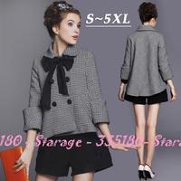 S-5XL Brand Plaid Woolen Coat Women Wool Overcoat Casual Ladies Cape Outerwear 2014 Autumn Winter Plus Size Clothing G199