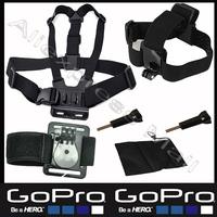Hero Gopro Accessories Set kit Helmet Harness Chest Belt Head Mount Strap Go pro hero3 Hero2 3 Sj4000 Sj5000 Fit Black Edition