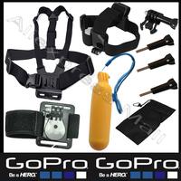 Sj4000 Gopro Accessories Kit Set  Harness Chest  Head Hand Mount Strap Bobber Go pro Hero 2 3 4 Hero4 hero3 Hero2 Black Edition