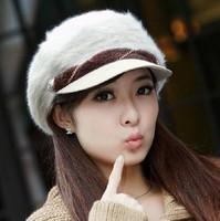 2014 New Wool women Fedora autumn and Winter lady hat cute female Korean tidal rabbit wool cap knitted hat fashion hat wholesale