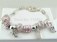 silver bracelet, chamilia beads bracelets Charm bracelet 925 silver crystal silver charm bracelet for woman free shipping