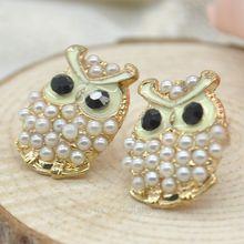 2015 New Fashion Lovely Cute Owl Pearl Stud Earrings Women Jewelry Brand Vintage Ear Stud Earring