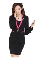 Free Shipping 2014 new fashion women's Formal Skirt suits,Long sleeve Blazers and skirt suits