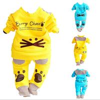 [LOONGBOB] 2014 New spring infants clothing set baby boys girls 2pcs set full sleeve large pocket top t-shirt +pants kitty suit