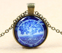 1pcs Tree Of Life Soul Round Glass Cabochon Indian Pendant Necklace Glass Dome Jewelry Free shipping