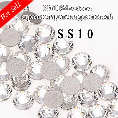 Nail Art ideas,Non hot fix rhinestones 1440pcs SS10 Crystal Clear Flat Back No Hotfix Nail starss naill clear glass crystal(China (Mainland))