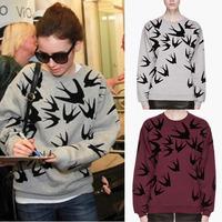New 2014 Fashion Brand Sweatshirt Casual Women Hoody Swallow Printed Cotton T Shirt  Hoodies Sport Suit Women Pullover Plus Size