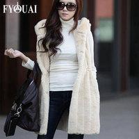 FYOUAI New Women Coat 2014 Rabbit Fur Coat For Women Long Style Comfortable Material Casual Winter Coat Women With Hoodies