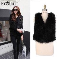 FYOUAI Fur Vest Women 2014 New Fashion Fur Coat  Warmth Outdoor Winter Coat Women