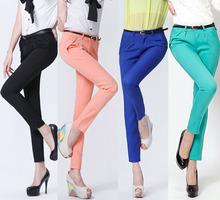 Promoção! Calças para mulheres tamanho grande Novo 2012 Calças casuais sexy elegantes de algodão cor preto para mulheres Calças apertados femininos S-XXL SQ709(China (Mainland))