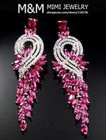Luxury AAA Cubic Zirconia Red Corundum Zircon Long Drop Earrings Fashion Bridal Wedding Dinner Party Accessories