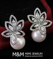 Luxury AAA Cubic Zirconia Elegant Pearl Clear Zircon Stone Bridal Wedding Stud Earrings Fashion Women Jewelry