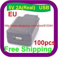 100 pcs 5V 2000mA USB EU plug Wall Charger for iphone 6 6G