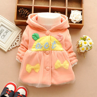 T1112 New 2014 Baby Kids Warm Button Cardigan, Infant Girl Autumn Winter Jacket/Coat, Child Sweet Bow Cute Letters Outerwear  F2