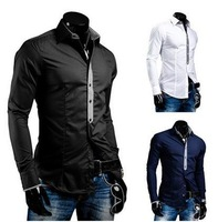 Fashion Autumn Dress 2014 Top Mens Long Sleeve Shirts Man Fashion False Tie Design Shirt For Men Casual Slim Fit Shirt NS03