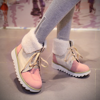 PU leather round toe platform Flat women snow boots,2014 Winter blue,pink mix color elegant Skid warm lace up female shoes