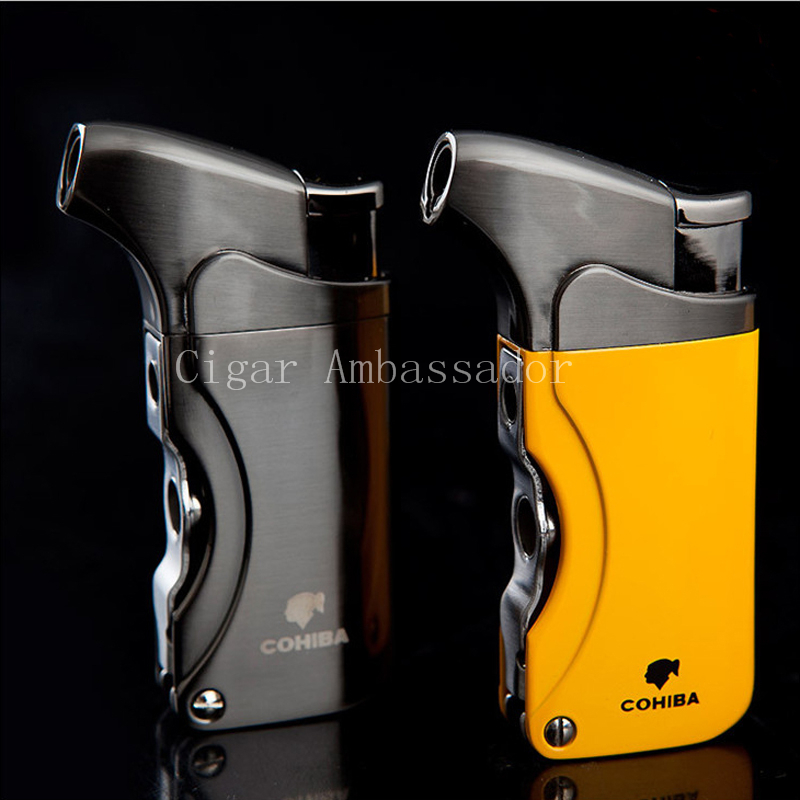 Very Popular COHIBA High Quality Beautiful Metal Windproof Torch Jet Flame Cigarette Cigar Lighter with Double Punch(China (Mainland))