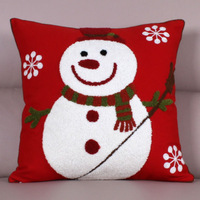 45*45 CM Christmas Snowman Embroidered  Linen Pillow Cover  Pillowcase for Home Decorations Sofa