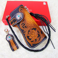 Hong Kong OLG. YAT Retro National style handmade carving rose leather wallets long style hand bag multi-function purse