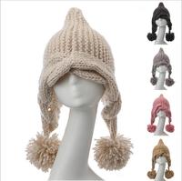 2014 HOT SELL Korea new winter knit cap conical spire  Ms. cannabis big ball handmade wool cap