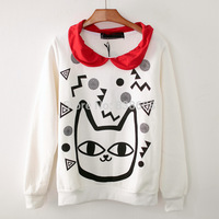 [Alice]2014 Autumn and winter new style women lovely cartoon cat head printing turn-down collar hoodies warm sweatshirts 821J