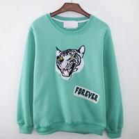 [Alice]2014 autumn new sweatshirts tiger head printing fleece inside good quality women's hoodies 5 colors free shipping
