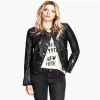 FS2853 Winter New Arrival Fashion European Style Good Quality PU Leather Jacket Coat Long Sleeve