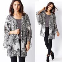 European 2014 Autumn New Fashion Bat Sleeve Vintage Black Jacquard Kimono Women Blouse Plus Size Cardigan Blusas Printed Shirt