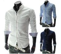 Fashion New Desigual Men Casual Shirt Long Sleeve Slim Fit Male Social Shirts White/Navy Blue Blusas Hombre Free Shipping Qyc14