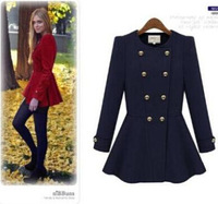 New 2014 Winter Women Wool Blended Long Thick Coat Double Breasted O-Neck Outerwear, Red, Apricot, Navy Blue, S, M, L, XL R473