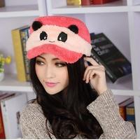 2014 New cartoon panda plush warm winter women hat cap mask goggles dual cap Korean winter lovers thick plush cashmere wholesale