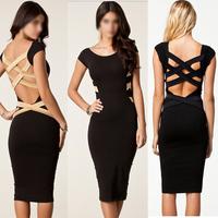 Plus Size 2014 New European Fashion Women Sexy Knee Length Black Bodycon Bandage Dress Celebrity Casual Dress