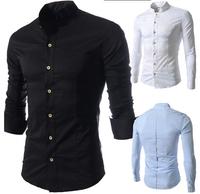 Fashion Brand Mandarin Collar Men Shirt Long Sleeve Black/White/Blue Social Slim Fit Imported Men Clothing Free Shipping Qy5034