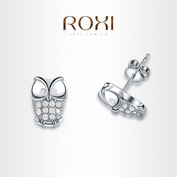 Рокси изысканные сова серьги платины покрытием с CZ алмазов, мода окружающей микро-ввел ювелирные изделия, 102012300