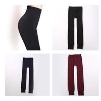 Polyester Women Girls Fashion High Free ankle-length Legging Solid Black Velvet Knitted Thick Slim Leggings Warm Legging