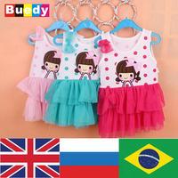 0-12 M Baby Girl Cute cartoon princess dress cotton vestidos infantis baby clothing vestido bebe roupas infantil meninas Buedy
