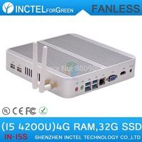 Aluminum fanless i5 4200u pc mini with Intel Core i5 4200U 1.6Ghz Haswell Architecture SOC design 4G RAM 32G SSD windows Linux