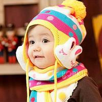 Fashion Cute Rabbit Retail baby Beanie Set Girl Boy Accessories Hat Caps Beanies Bonnet Child Winter Hat Girl Boy Cap