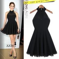 AATE Women Halter Black Dress New 2015 Summer Top Fashion Sleeveless Sexy Spaghetti Strap Brief Dresses Vestidos