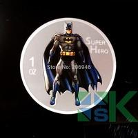 Free shipping 10pcs/lot silver color super Hero 1oz coin replica 2014.999 silver  Batman plated coin