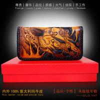 Hong Kong OLG.YAT Handmade leather carving hag wallet  zipper clutch hand bag retro style wallet  men's multi-function purse