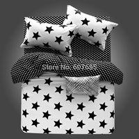 Hot Sale Bedding Set 4pcs Black White Stripe Plaid Stars Design 100%Cotton Duvet Cover Bed sheet Pillowcase bed linen 4pcs/set